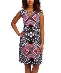 Love this Fuchsia & Black Geometric Sleeveless Dress - Women on #zulily! #zulilyfinds