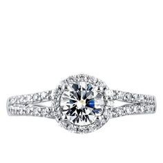 Round Brilliant Cut Halo Engagement Ring with Two Row Diamond Studded... ($1,227) ❤ liked on Polyvore featuring jewelry, rings, round engagement rings, studded jewelry, band rings, stud ring and diamond band ring