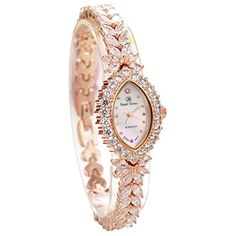 Royal Crown Quartz Womens Jewelry Wrist Watches Luxury Mother of pearl Dial Rose Gold 3588B ** Click image to review more details. (Note:Amazon affiliate link)