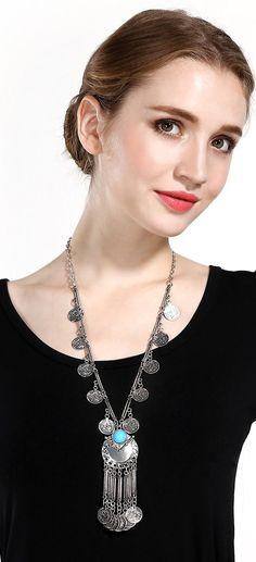 Zhenhui Ethnic Tribal Boho Beads Coin Fringe Necklace Long Belly Dance Bohemian Jewelry