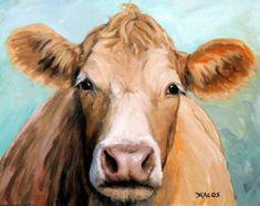 La vache Holstein Cow Farm Animal Art Print de par DottieDracos