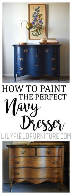 Navy Dresser Makeover-Fusion Midnight Blue – Dresser – Ideas of Dresser … - Dekoration Ideen 2019 Refurbished Furniture, Repurposed Furniture, Furniture Makeover, Vintage Furniture, Cool Furniture, Furniture Stores, Modern Furniture, Furniture Online, Luxury Furniture