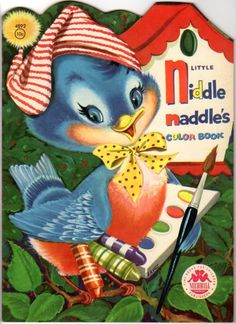 1956 Little Niddle Naddles Coloring Book Showing A Blue Bird With Crayons