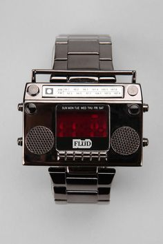 Boombox Timepiece from Urban Outfitters Modern Watches, Cool Watches, Watches For Men, Unique Watches, Elegant Watches, Wrist Watches, Men's Watches, Luxury Watches, Boombox