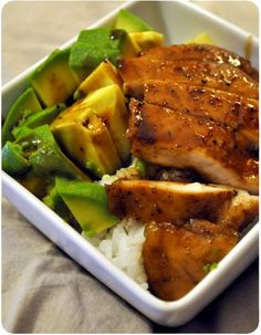 Teriyaki chicken with spices and avocado, Asian Recipes, Healthy Recipes, Eat Healthy, Teriyaki Chicken, Sauce Teriyaki, China Food, Savoury Dishes, No Cook Meals, Food Inspiration