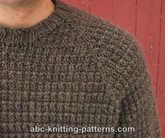 ABC Knitting Patterns - Men's Raglan Woodsman Sweater knitting patterns sweaters Mens Knit Sweater Pattern, Men Sweater, Men Cardigan, Sweater Patterns, Baby Knitting Patterns, Free Knitting, Raglan Pullover, Knitting Sweaters, Mens Jumpers