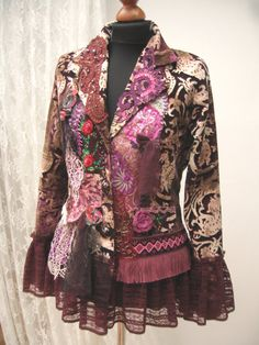 Cotton velvet ornate Jacket, Upcycled jacket, Boho jacket, Wearable Art, Hand Embroidered, Art to wear, Upcycled Clothing, Gypsy jacket, Shabby Chic  Decorated reworked velvet cotton jacket with lace, applications, hand made elements with beaded ornaments etc. Wearable Art great for gypsy or boho style One of a kind size M/L bust approx. 95 cm/ 37.4 inch waist approx. 85 cm/33.5 inch hips approx. 105cm/41 inch length approx. 68 cm/27 inch Sleeve Length 62 cm /24...