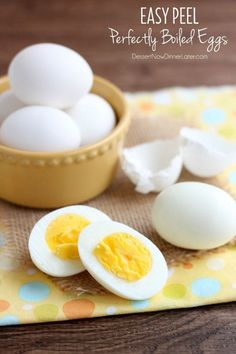 These easy peel perfectly boiled eggs use baking soda to raise the pH of the water, making them easier to peel by reducing the albumen's ability to stick to the shell.
