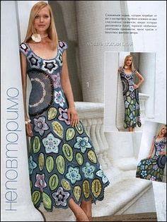CROCHE COM RECEITAS: Vestido de croche floral