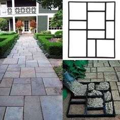 Yaheetech Concrete Paving Stepping Stone Mold Path Walk Maker Paver Walk Way, Rectangular Patterns with 10 grid, 23.8 inch x 19.9 inch x 1.7 inch, Black