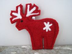 Red Reindeer Ornament Needle Felted Christmas by TwiceNicePurses