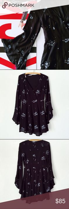 """NWT Free People Dress NWT Free People Dress ❣️side zip ❣️blue grey embroidery Jasmine ❣️approximately 34"""" long Free People Dresses"""