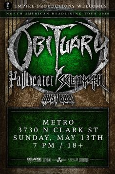 OBITUARY WITH PALLBEARER, SKELETONWITCH & DUST BOLT // Sun. May 13 // Doors: 6:00 PM / Show: 7:00 PM // $25 // 18+