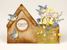 The woodgrain cardstock really brings Valerie Cartwright's birdhouse card to life!