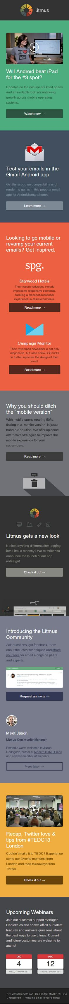 """Responsive email design from Litmus. PRDXN: The best one I've (@libswan) have seen. Great use of """"colour blocks""""..."""