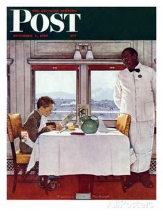 """""""New York Central Diner"""" Saturday Evening Post Cover, December 7,1946 Giclee Print by Norman Rockwell at AllPosters.com"""