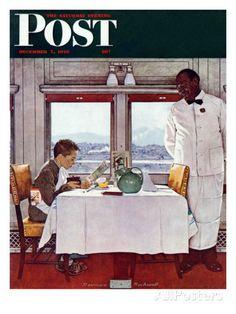 """New York Central Diner"" Saturday Evening Post Cover, December 7,1946 Impression giclée par Norman Rockwell sur AllPosters.fr"