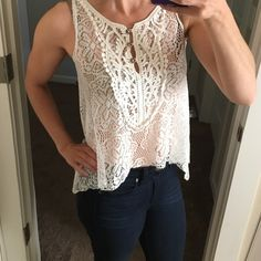 Gorgeous Lace Tank Top Gorgeous sheer lace like tank top. It's in perfect condition. Size small. Cool Wear Tops Tank Tops