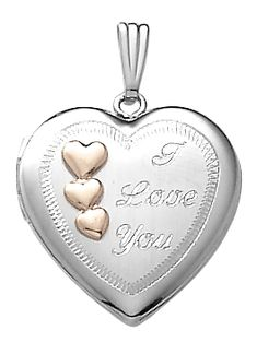 Sterling Silver Heart Locket w I Love You