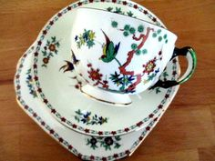 Art Deco / Vintage China Tea Set Trio.Tuscan China. Bird of Paradise .British.