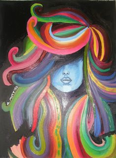Oil panted woman with colorful hair.