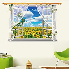 Kaimao Sunflower 3D Window Decal Wall Sticker Art Murals Removable Wallpapers for Home Decoration ** You can get additional details at the image link.Note:It is affiliate link to Amazon.