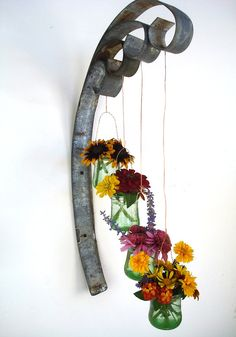 Large Quad Wall Hanging Candle / Flower Holder  - 100% recycled glass and Wine Barrel Rings.