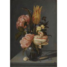 Ambrosius Bosschaert de Oude, Stilleven met tulpen, rozen, goudsbloemen en andere bloemen met een lieverheersbeestje en rups, op een richel.