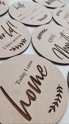 Baby Round Milestone Plaques Newborn Photography Wooden | Etsy Wooden Plaques, Wooden Signs, I Coming Home, Hello My Name Is, Newborn Photography, Baby Shower Gifts, Etsy, Wood Plaques, Newborn Baby Photography