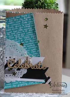 """Stamping & Blogging DT Sketch114 Giftbag mit Einsteck-Karte mit Designer-Papier im Set Signalfarben und Natur-Elemente """"Wortwörtlich"""""""