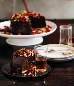 Australian Gourmet Traveller recipe for chocolate mousse tart with pomegranates and pine nuts by Shane Delia from Melbourne restaurant Maha.