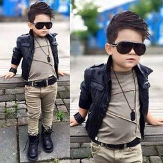 Leather jacket outfit for boys