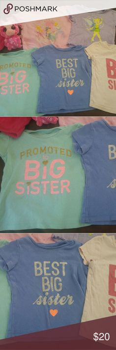 Big sister bundle Sizes 2t3t used cond but still cute bundle for that big sister to be or already is! 3 big sis shirts a princess shirt and tink shirt and thrown in pink shorts and cute little stuff animal shirts are 2t 3t diff brands but to me fit the same more on the smaller side. The lighter big sis shirt has some staining shown in pic. Baby gap Shirts & Tops
