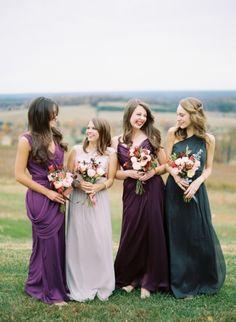 Mismatched purple bridesmaid dresses | photographed by Elisa Bricker