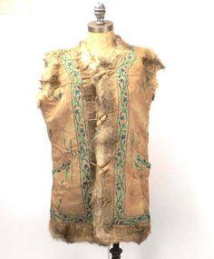 vintage women vest  60s Mongolia fur vest  suede leather
