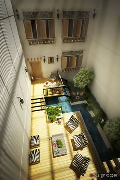 Central courtyard ideas aerial view of design
