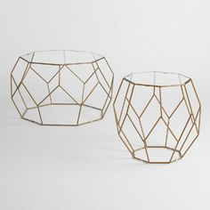 Antique Gold Faceted Accent Table with Glass Top | World Market