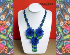 Mexican Huichol Beaded Flower Necklace and Earrings Set Mexican necklace - Mexican Jewelry - Huichol Necklace - Huichol Jewelry Flower Necklace, Beaded Necklace, Huichol Art, Dark Blue Flowers, Hummingbird Necklace, Mexican Jewelry, The Snake, Mexican Art, Blue Beads