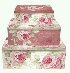 Country Rose Nesting Boxes, Set of 3 Shabby Chic Storage, Shabby Chic Pink, Decoupage Box, Pink Garden, Hat Boxes, Pretty Box, Nesting Boxes, Altered Boxes, Keepsake Boxes