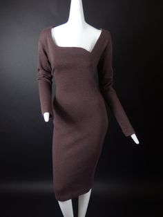 ROMEO GIGLI-1990s Brown Wool Knit Dress, Size-10