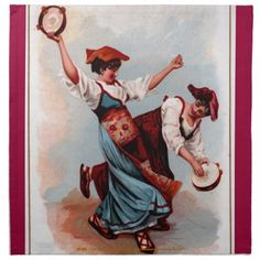 """Tarantella: An Italian Folk Dance"" Cloth Napkin"