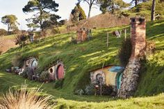 Sheltered by tall trees, the hobbit holes at Hobbiton Movie Set are beautifully detailed.
