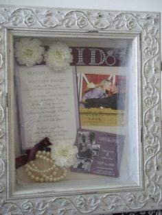 A wedding shadow box I made for a friend. Such a cute gift idea for any bride-to-be!