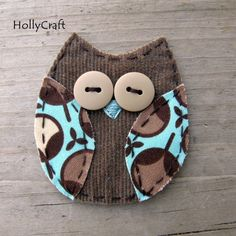Owl...buttons, fabric. #recycle #craft