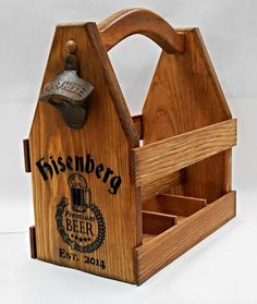 Beer carriers make the ultimate gift for the beer lover or craft brewer in your life. They can be carved with any logo or saying you want on them to create a truly one of a kind unique gift.   Beer Carrier   Wooden Beer tote  Personalized gift  by MVwoodworks, $64.99