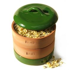 GAIA Clay Sprouter - 14cm dia - Racing Green - for sprouting Organic Seeds, Beans, and Grains