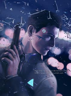 Finished fanart for Detroit Become Human. My most favorite android boi,Connor…. too precious for this world 。・゚゚. Connor Detroit Become Human Luther, Detroit Art, Bryan Dechart, Quantic Dream, Detroit Become Human Connor, Detroit Being Human, Becoming Human, I Like Dogs, Only Play