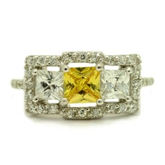 Nicolette's Vintage Inspired Triple Princess Cut Canary CZ Ring