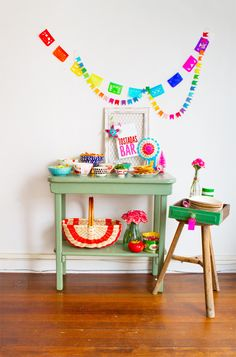 Jade colored painted vintage table provides a gentle backdrop for a party setting exploding with color. Colorful Birthday Party, Birthday Parties, Diy Piñata, Fun Diy, Diy Arts And Crafts, Dyi Crafts, Creative Crafts, Mexican Party, Host A Party