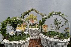 fairy garden easter baskets, crafts, easter decorations, gardening, seasonal holiday d cor, Little worlds created with tiny plants furniture and little creatures makes them whimsical and without a doubt a lot of fun Creating a fairy garden in an Easter basket is pretty fun to do all year round